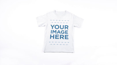 Round Neck T-Shirt Stop Motion Video Mockup Moving Around a White Surface a13267-122716