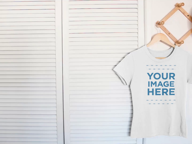 Simple Round Neck Tee Mockup Video Hanging on a Closet Door a13087-122816