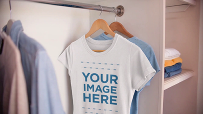 Round Neck T-Shirt Mockup Video of a Woman's Tee Hanging in a Closet a13076-122816