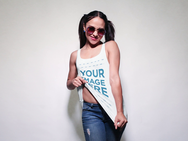 Girl with Pigtails and Sunglasses Wearing a Scoop Neck Tank Mockup Video a13158-122816