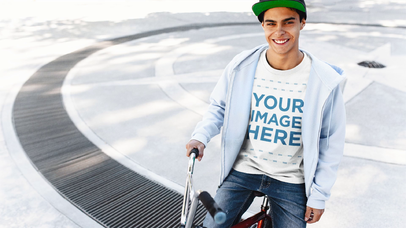 BMX Guy Wearing a Hoodie with a Round Neck Tee Mockup Video a13355-122816