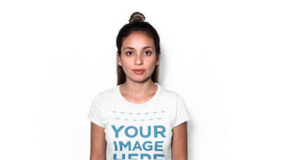 Trendy Girl with a Hair Bun Wearing a Round Neck Tee Stop Motion Video Mockup Over a White Background a13240-122816
