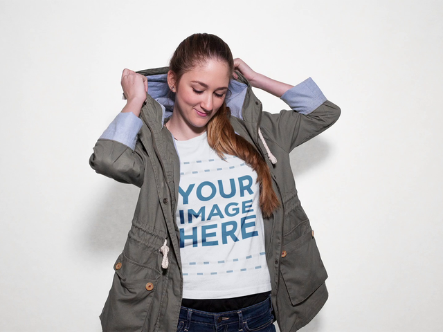 Beautiful Girl Modeling a Round Neck Tee Mockup with a Jacket Apparel Video a13307-122816