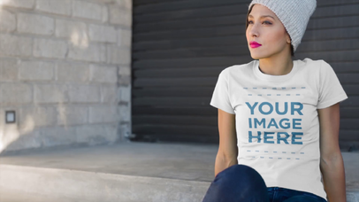 Young Skater Girl Wearing a Beanie and Round Neck T-Shirt Mockup Video in the Street a12826
