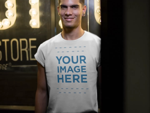 Handsome Young Guy Wearing a Round Neck Tee Out at Night Apparel Mockup Video a13495-122916