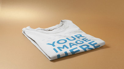 Stop Motion Mockup Video of Round Neck T-Shirt Stacking on a Table a13219-122916