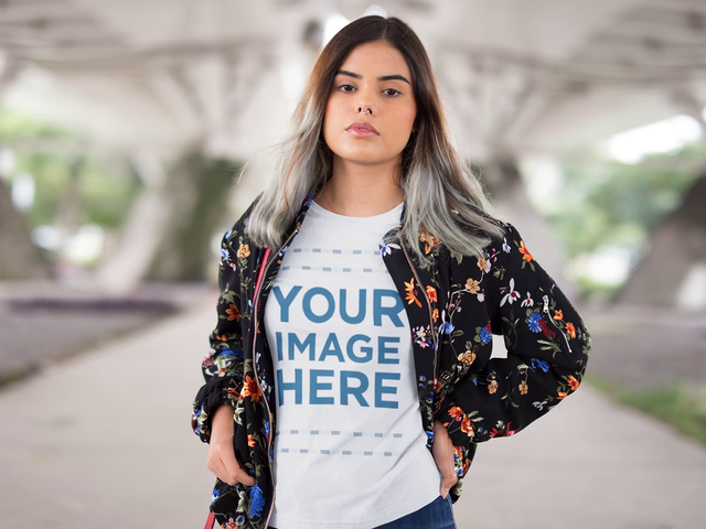 Trendy Young Woman Wearing a Bomber Jacket with a Round Neck T-Shirt Video Mockup a13163-122916