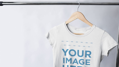 Stop Motion Mockup Video of Round Neck T-Shirts Hanging on a Clothing Rack a13147-122916