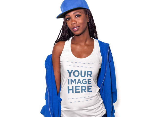 Apparel Mockup Video of a Beautiful Woman Wearing a Hoodie and Snapback with a Scoop Neck Tank Top Posing in a Studio a13373-122916