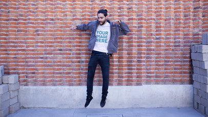 Hipster Guy Jumping in the Air Round Neck T-Shirt Mockup Stop Motion Video a13438-122916