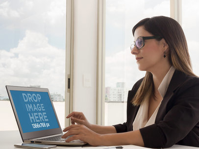 Business Woman Using Laptop At Office