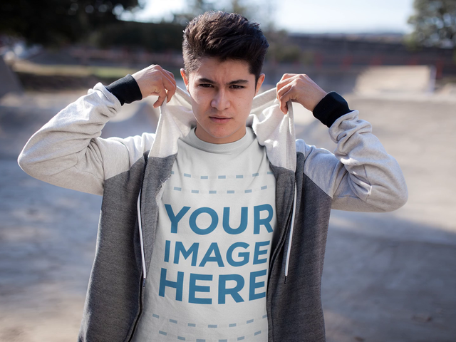 Mockup Video of a Young Man Wearing a T-Shirt in a Skating Park 13502
