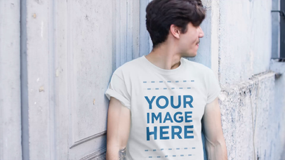 Mockup Video of a Hipster Young Man With Mustache Wearing a T-Shirt Outdoors a13467