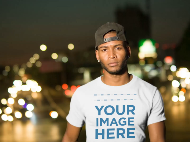 Mockup Video of a Handsome Black Man in the City at Night 13507