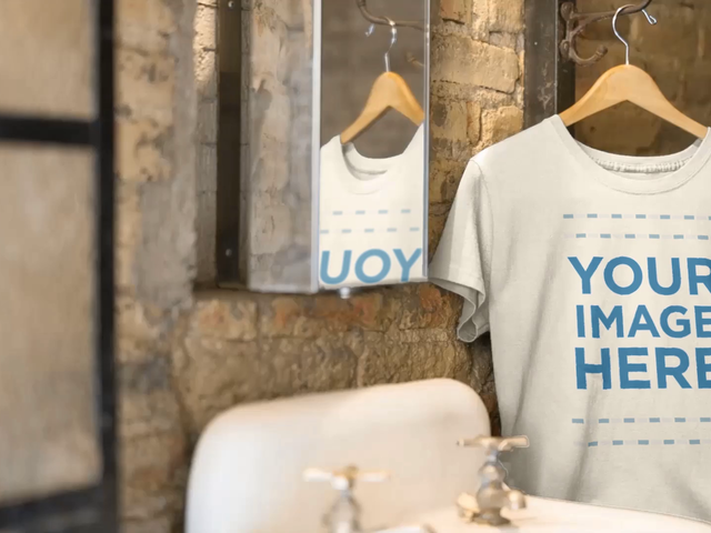 Mockup Video of a T-Shirt in a Hanger Inside a Vintage Bathroom 13138