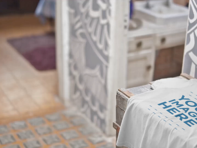 Video Mockup of a T-Shirt Lying on a Wooden Trunk a13141