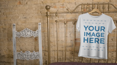 T-Shirt on a Hanger in a Vintage Room Video Apparel Mockup 13142