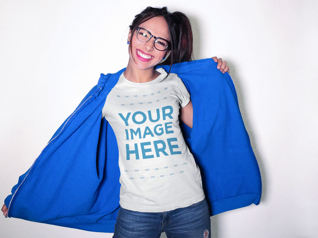 Pretty Girl Wearing a T-Shirt and Big Hoodie Mockup Video a13186