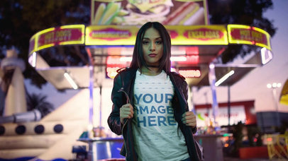 Video Mockup of a Girl Wearing a T-Shirt and a Leather Jacket Near a Hotdogs Car a13517