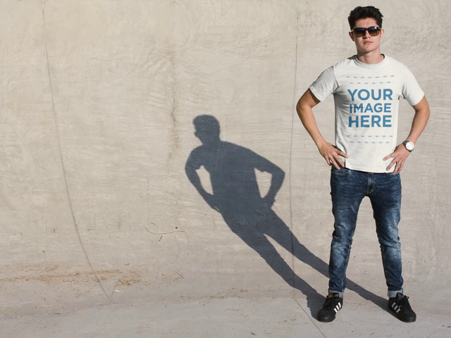 Young Man Wearing a T-Shirt With His Shadow Taking Glasses Off Cinemagraph Mockup a13498