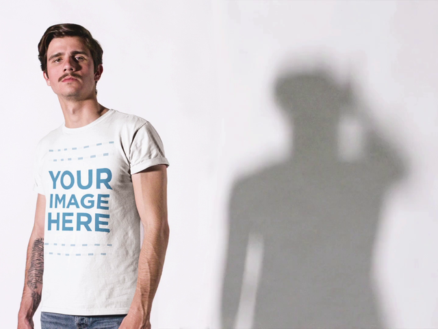 White Man With T-Shirt On Shadow Moving Mockup Cinemagraph a13531
