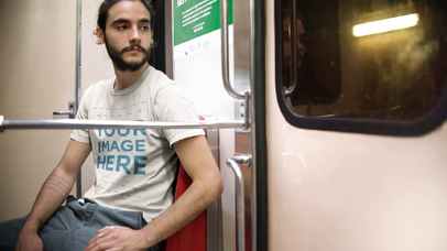 Mockup Cinemagraph Featuring a Trendy Man On The Subway Wearing a T-Shirt a13370
