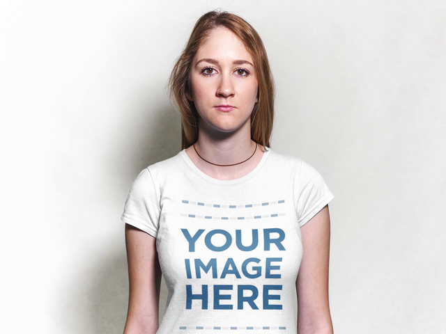 Stop Motion Mockup of a Young Blonde Girl Wearing a Necklace and a T-Shirt With White Background a13305