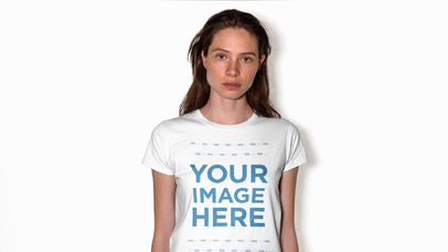 White Girl Wearing Round Neck Tee With Hair Moving Against White Background Stop Motion Mockup a13188