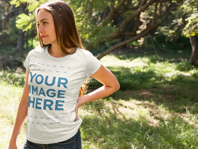 Cinemagraph Mockup of a Beautiful Woman Wearing a T-Shirt While Staring at the Nature a13310