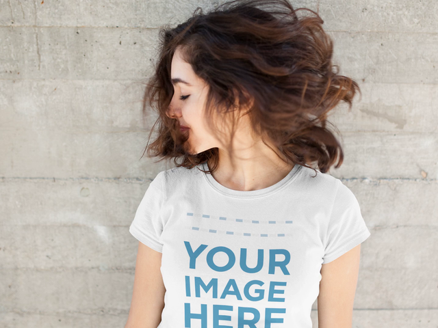 Beautiful Girl Waving Her Hair Wearing a Round Neck T-Shirt Stop Motion Mockup a13598