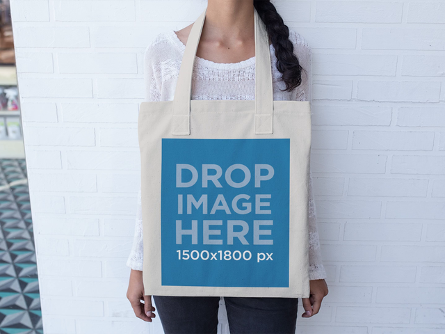 Beautiful Girl Playing With Her Tote Bag Stop Motion Mockup a13640