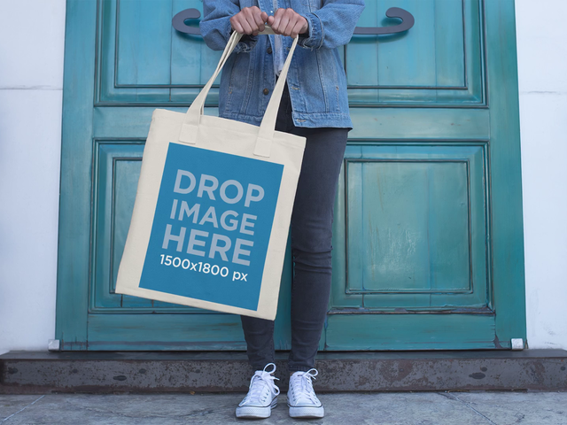 Stop Motion Mockup of Girl Swinging Tote Bag Outside Her House a13639