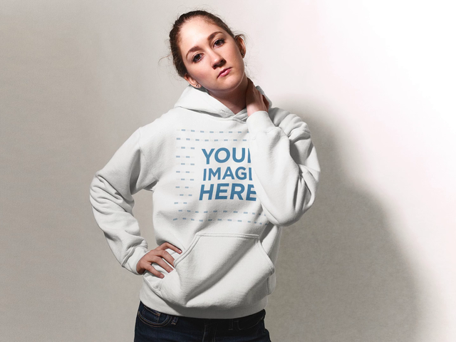 Mannequin Stop Motion Mockup Of A Blonde Girl Wearing A Pullover Hoodie Against A White Background a13304