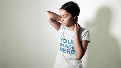 Girl Posing Mannequin Challenge Wearing T-Shirt Stop Motion Mockup c13359