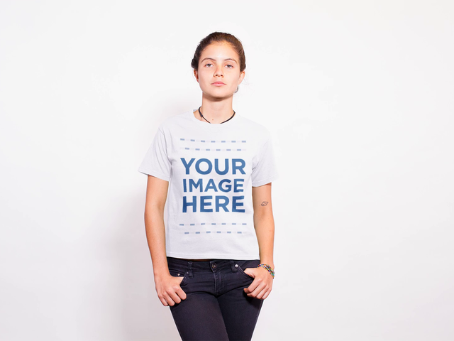 Stop Motion Mockup of a Girl Using a Round Neck Tshirt Against a White Background a13756