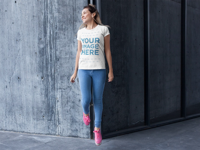 Stop Motion Mockup of a Girl Jumping While Wearing a T-Shirt a13232