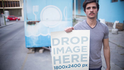 Stop Motion Mockup Of A Guy Sticking A Poster In A Foodtruck a13655