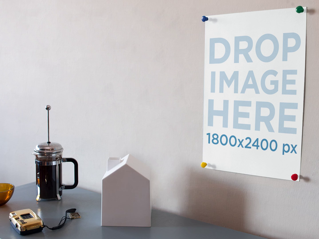 Poster Stop Motion Mockup Moving Objects On Table a13649