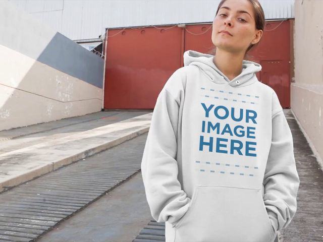 Video Mockup Of A Young Woman Smiling On An Industrial Ramp Wearing a Pullover Hoodie a13110