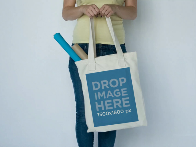 Girl Slightly Swinging a Tote Bag When Back From School Against White Background Video Mockup a13847