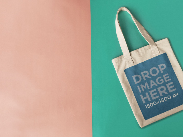 Stop Motion Tote Bag Moving On Pink And Green Background Mockup a13668