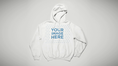 Stop Motion Pullover Hoodie Waving On White Surface a13154