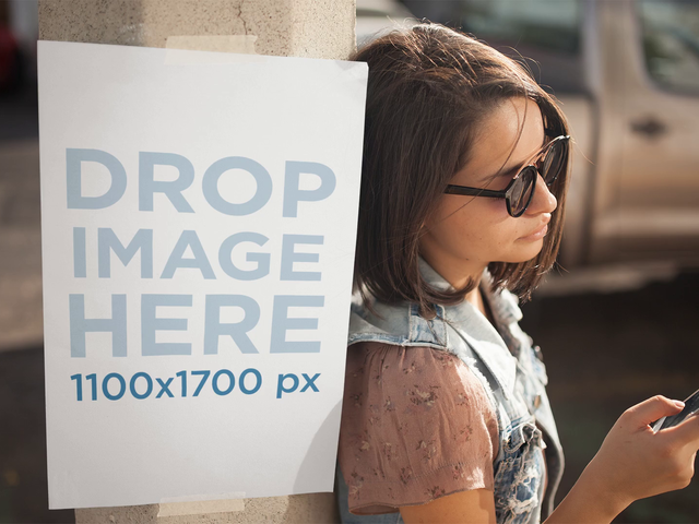 Trendy Girl On The Street Noticing A Poster On A Pole Stop Motion Mockup a13742