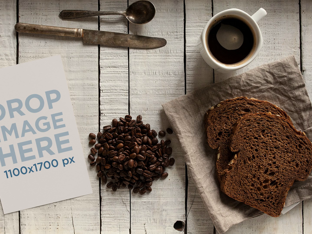 Stop Motion Flyer On Table With Coffee Cup Spinning While Cutlery And Bread Moving Mockup a13725