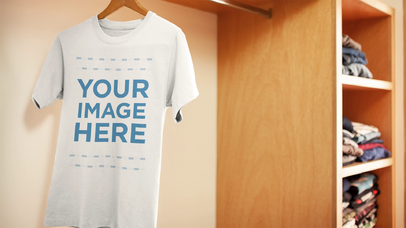 Cool Stop Motion T-Shirt On A Moving Hanger Mockup a13857