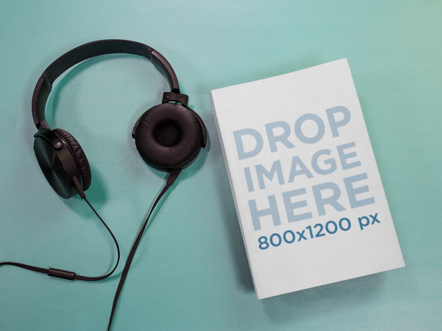 Cool Audiobook Mockup Stop Motion Of A Book Using Headphones a13672