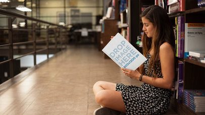 Beautiful Young Student Reading A Book At A Library Stop Motion Mockup a13780