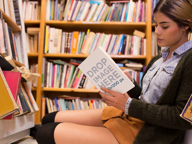 Girl Sitting Down In Library While Reading A Book Stop Motion Mockup a13747