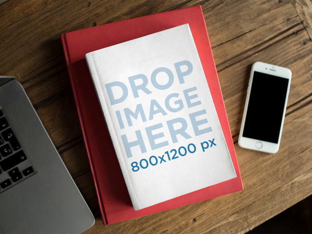 Book Moving On Top Of A Red Book On Table With MacBook And iPhone Stop Motion Mockup a13866