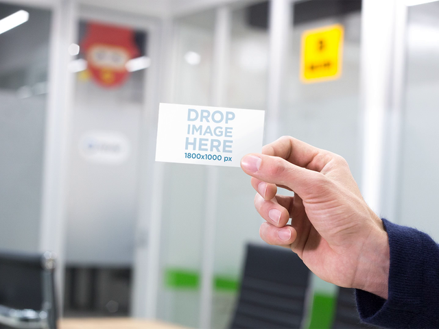 Mockup Of A Hand Holding A Business Card In Professional Environment Stop Motion a13729